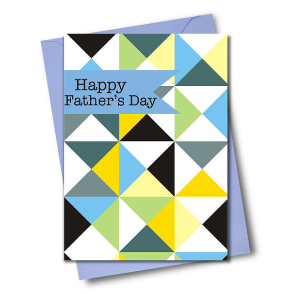 Father's Day Card, Cubes and Triangles, See through acetate window