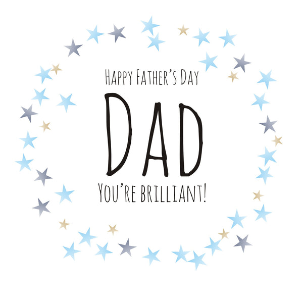 Father's Day Card, Blue Stars, Happy Father's Day Dad, You're Brilliant