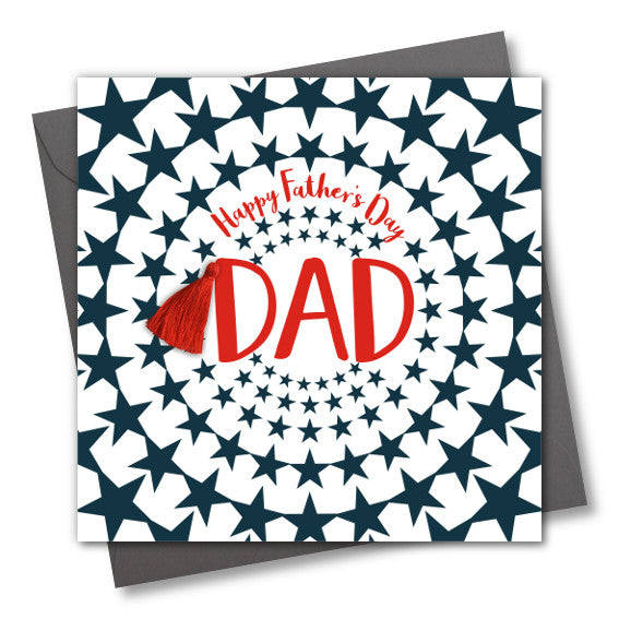 Father's Day Greeting Card, Star Burst Dad, Embellished with a colourful tassel
