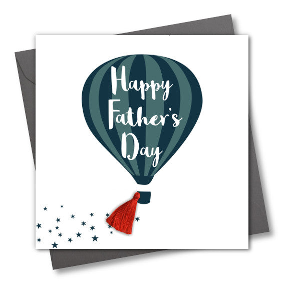 Father's Day Greeting Card, Hot Air Balloon, Embellished with a colourful tassel