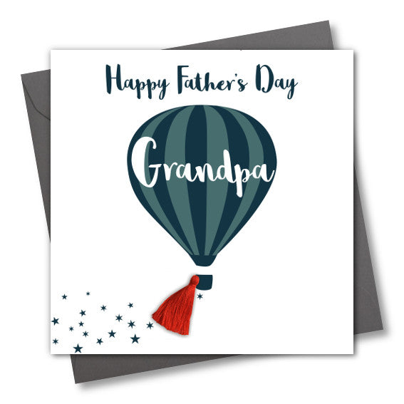 Father's Day Grandpa Card, Hot air Balloon, Tassel Embellished