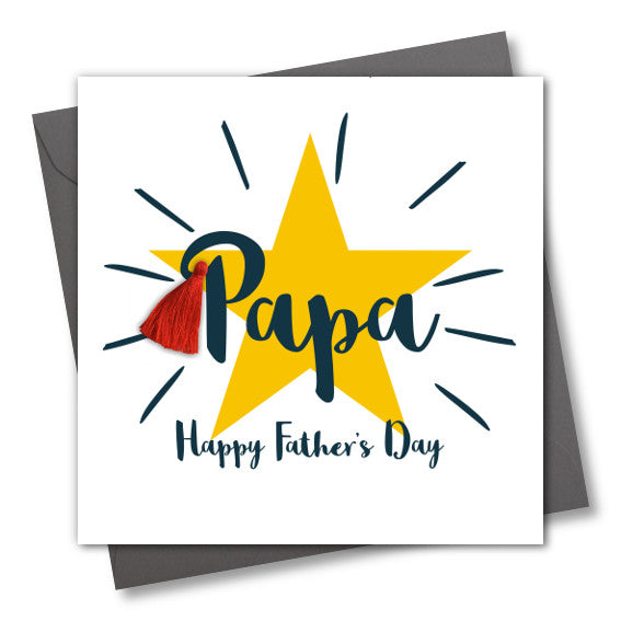 Father's Day Card, Star, Papa, Happy Father's Day, Tassel Embellished