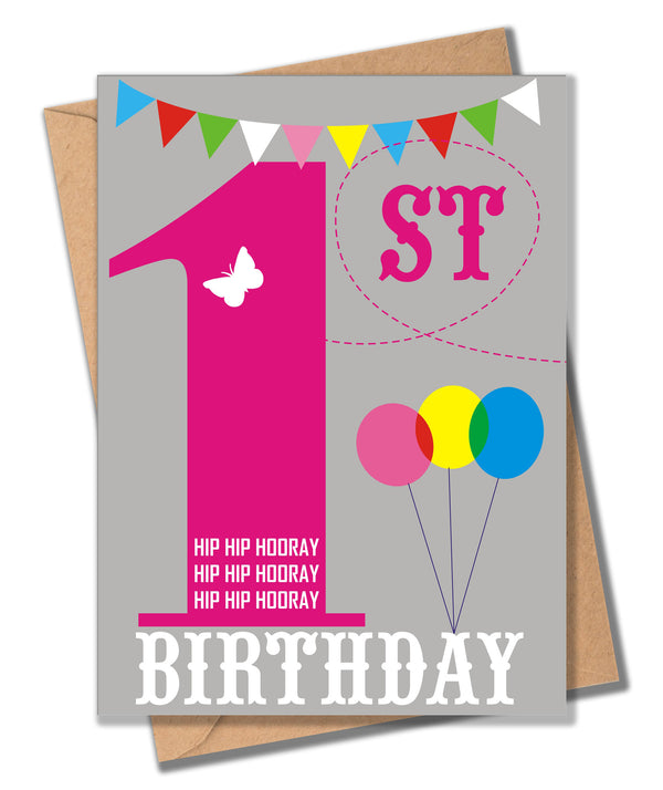 Birthday Card, Pink Age 1, 1st Birthday, Hip Hip Hooray