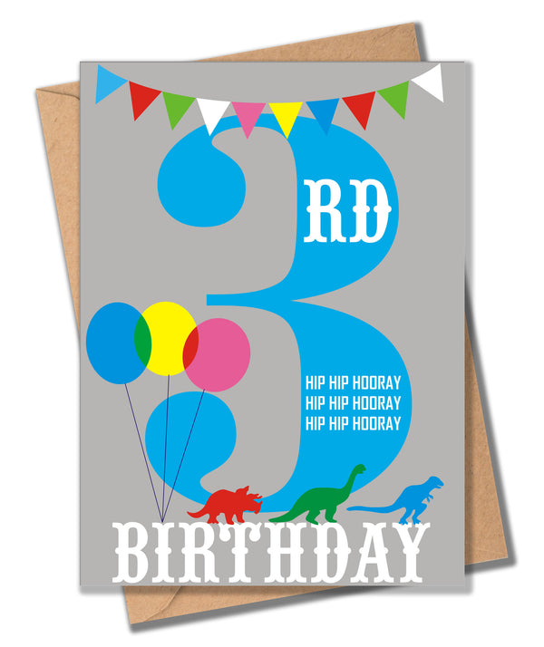 Birthday Card, Blue Age 3, 3rd Birthday, Hip Hip Hooray