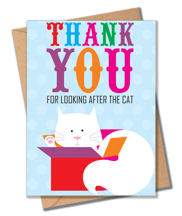 Thank You Card, Cat and Present, Thank you for looking after the Cat