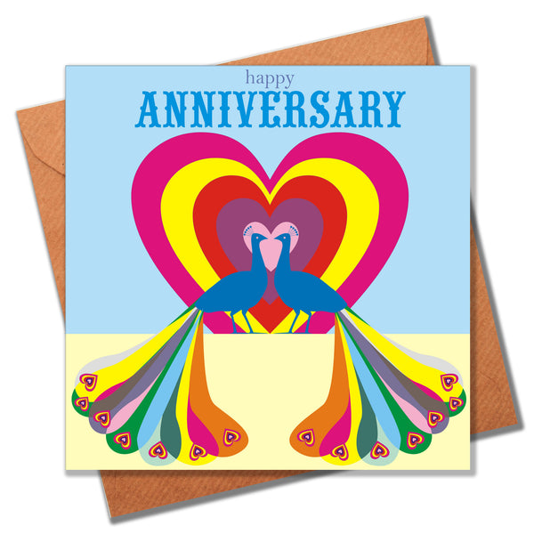 Wedding Card, Peacock Heart, Happy Anniversary