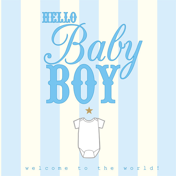 Baby Card, Blue Stripes, Hello Baby Boy