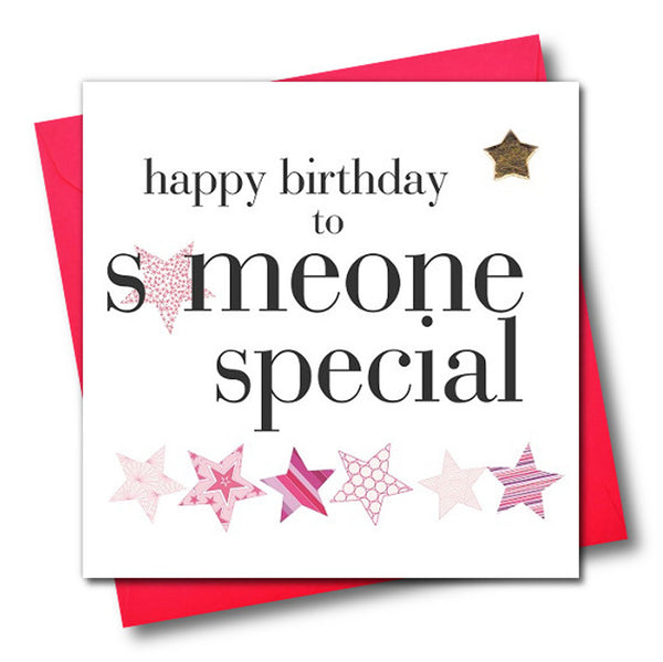 Birthday Card, Someone Special, Pink, Embellished with a padded star
