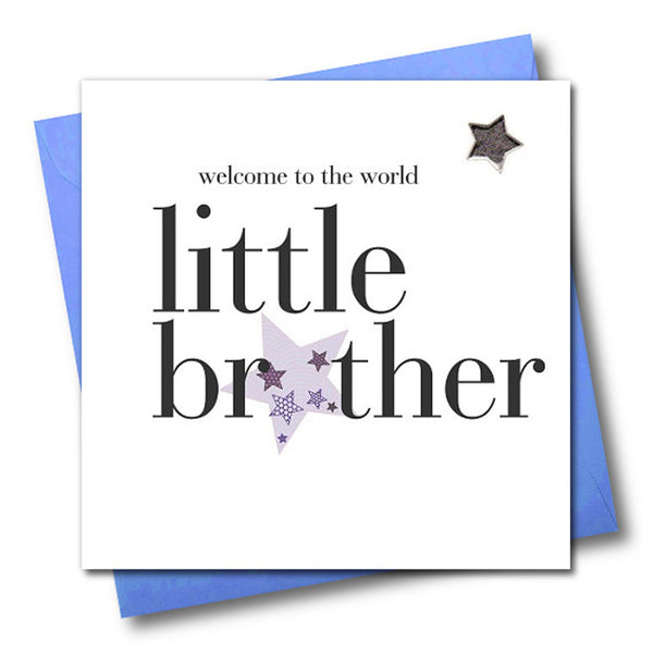Baby Card, Welcome to the world little brother, Embellished with a padded star