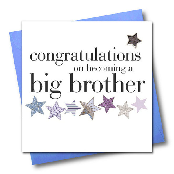 Baby Card, Congratulations big brother, Embellished with a padded star
