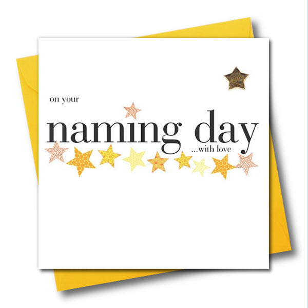 Baby Card, On your naming day with love, Embellished with a padded star