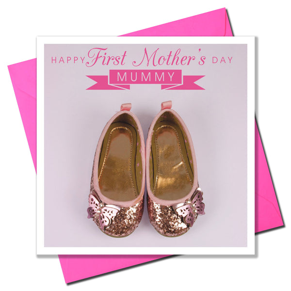 Mother's Day Card, Glitter Shoes, First Mother's Day