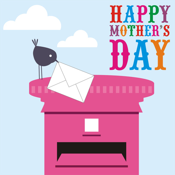 Mother's Day Card, Bird delivering a letter, Happy Mother's Day