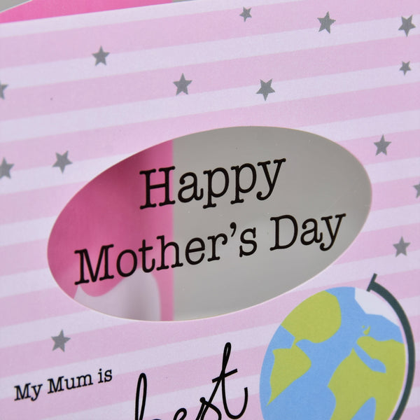 Mother's Day Card, Globe, best mum, See through acetate window