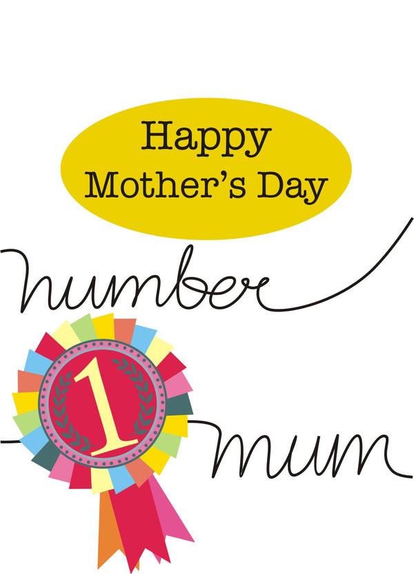 Mother's Day Card, Number 1, Happy Mother's Day, See through acetate window