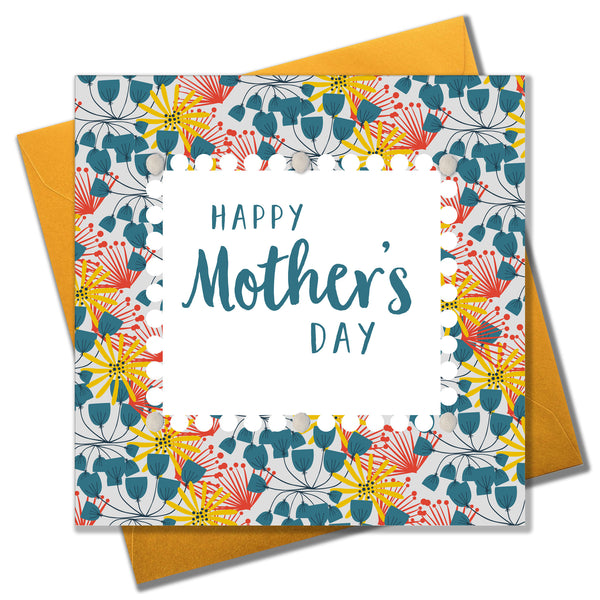 Mother's Day Card, Floral Pattern, Embellished with colourful pompoms