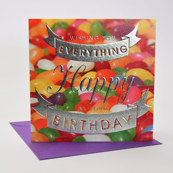Birthday Card, Jelly Beans, Birthday Wishes, Embossed and Foiled text