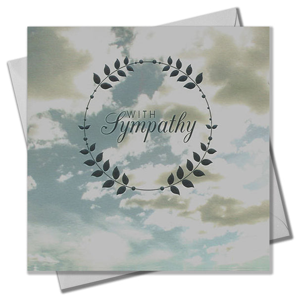 Sympathy Card, Sorry, Thinking of you, Sky & Clouds, Embossed and Foiled text