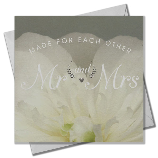 Wedding Card, White Peonie, Mr and Mrs , Embossed and Foiled text