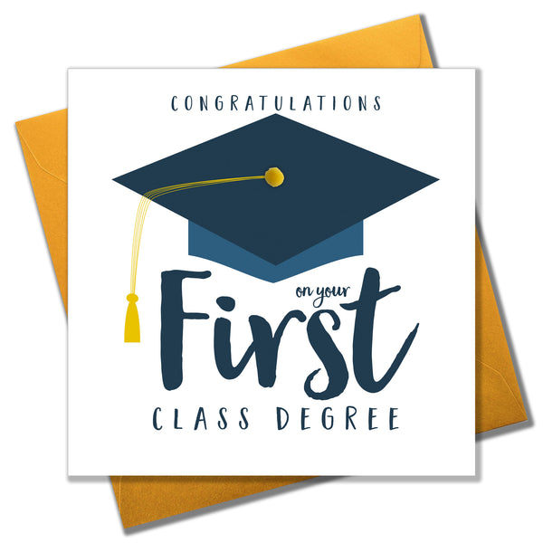 Congratulations on Frist class Degree Card, Motar Hat, Embellished with pompoms