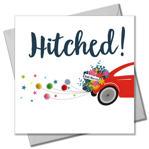 Wedding Card, Hitched! Car, Just Married, Embellished with colourful pompoms