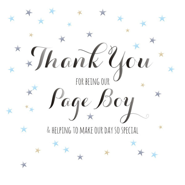 Wedding Card, Dots, Thank you for being our Page Boy
