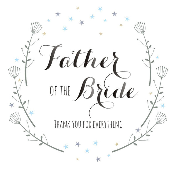 Wedding Card, Flowers, Father of the Bride Thank you