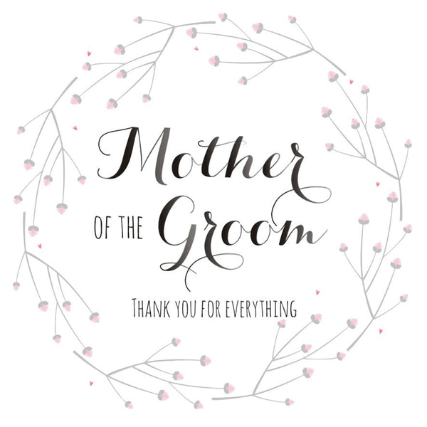 Wedding Card, Flowers, Mother of the Groom Thank you