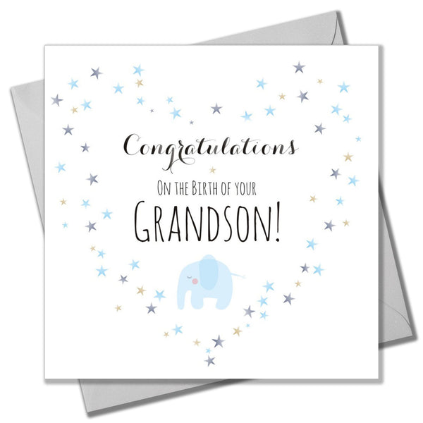 Baby Card, Blue Elephant and Heart, Birth of Grandson