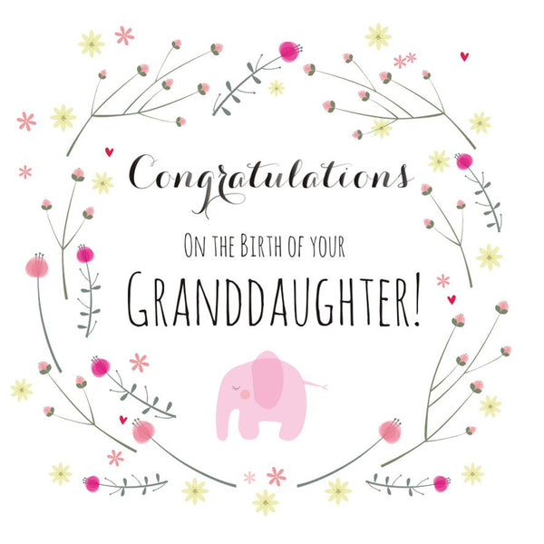 Baby Card, Pink Elephant, Congratulations on the Birth of Granddaughter!
