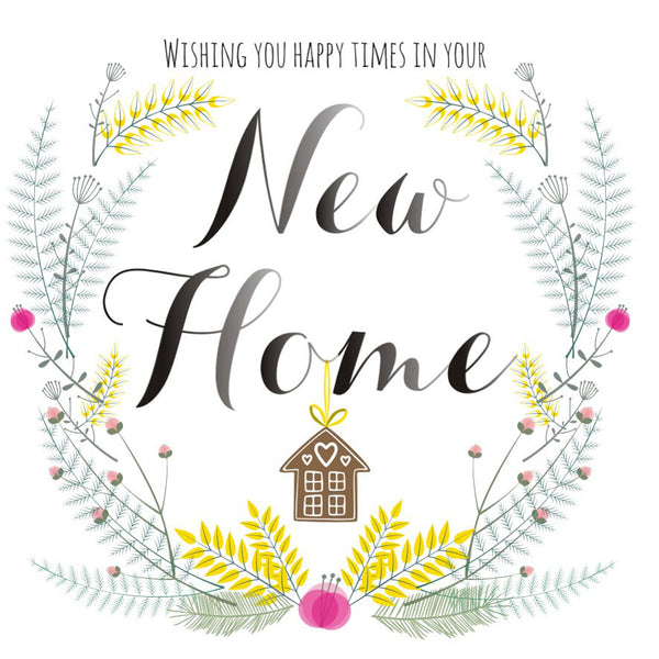 New Home Card, Gingerbread House, Wishing you happy times in your New Home