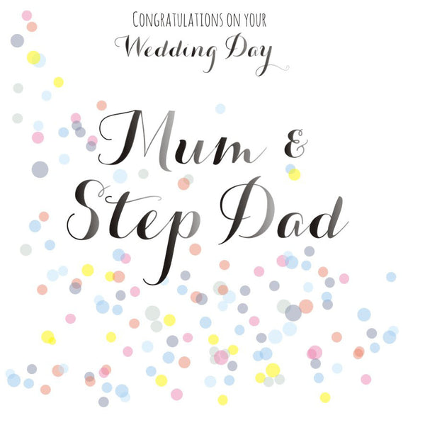 Wedding Congratulations Card, Mum and Step Dad, Colourful Dots