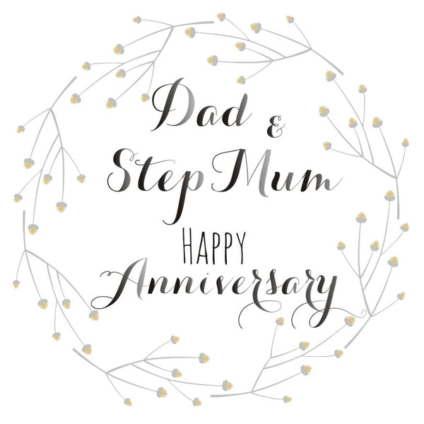 Wedding Card, Flowers, Dad and Step Mum Happy Anniversary