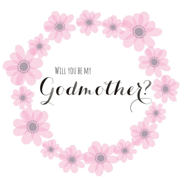 Religious Occassions Card, Pink Flowers, Will you be my Godmother?
