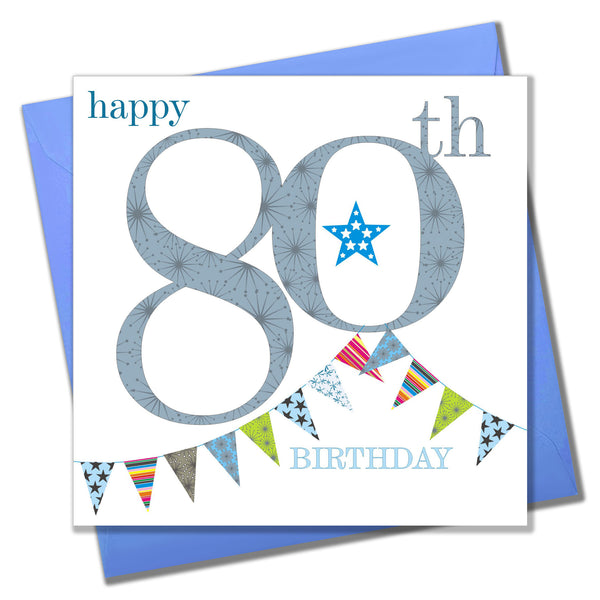 Birthday Card, Blue Age 80, Happy 80th Birthday
