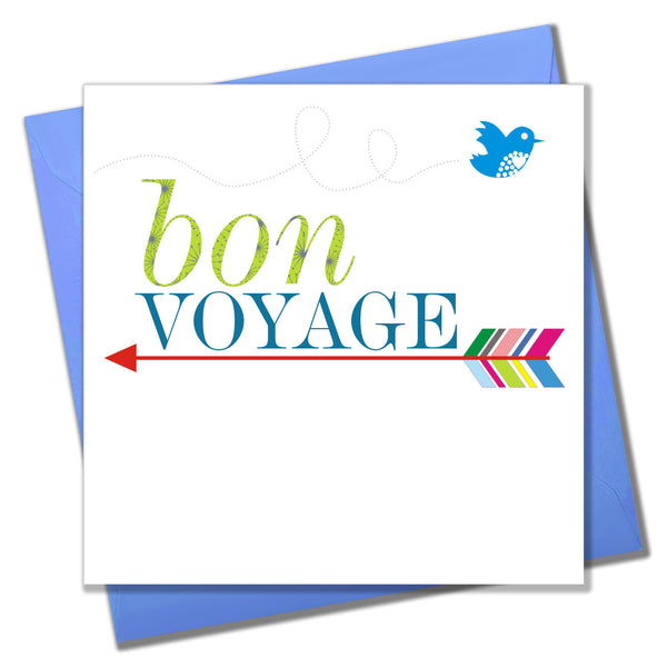 Good Luck Leaving Card, Arrow and Bird, Bon Voyage