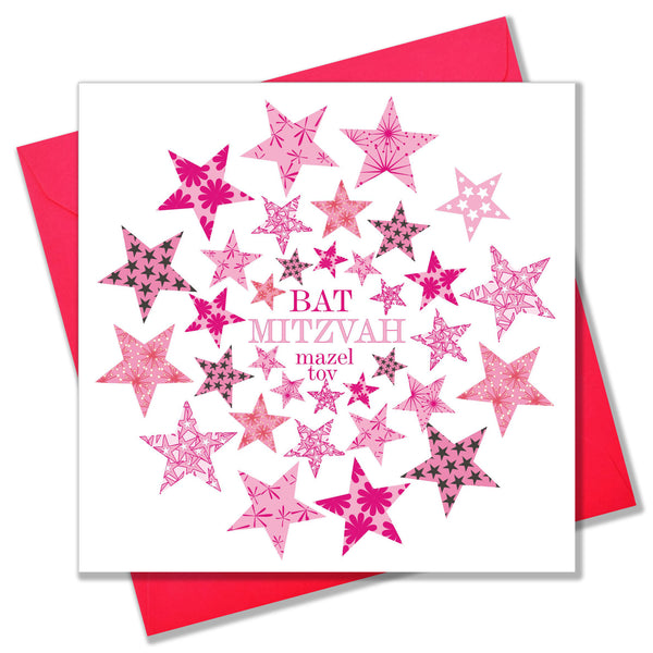 Religious Occassions Card, Circle of Pink Stars, Bat Mitzvah Mazel Tov