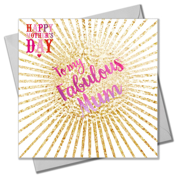 Mother's Day Card, glitter explosion, Fabulous Mum