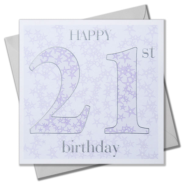 Birthday Card, Age 21, 21st Blue, Embossed and Foiled text