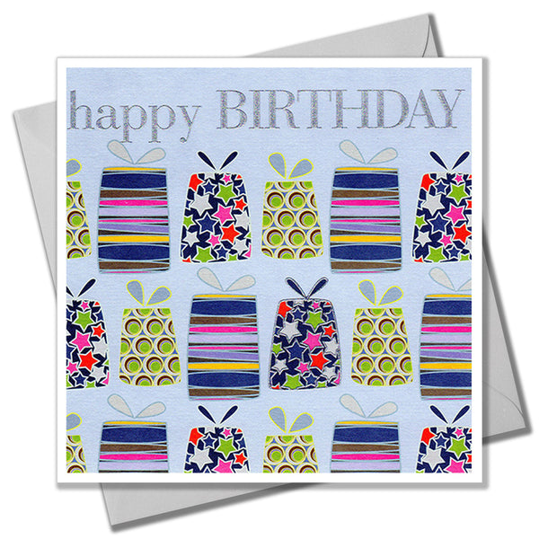 Birthday Card, Presents, Happy Birthday, Embossed and Foiled text