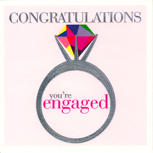 Wedding Card, Ring, Congratulations you're Engaged, Embossed and Foiled text