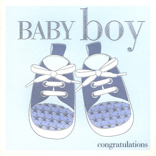 Baby Card, Blue Shoes, Baby Boy, Congratulations, Embossed and Foiled text