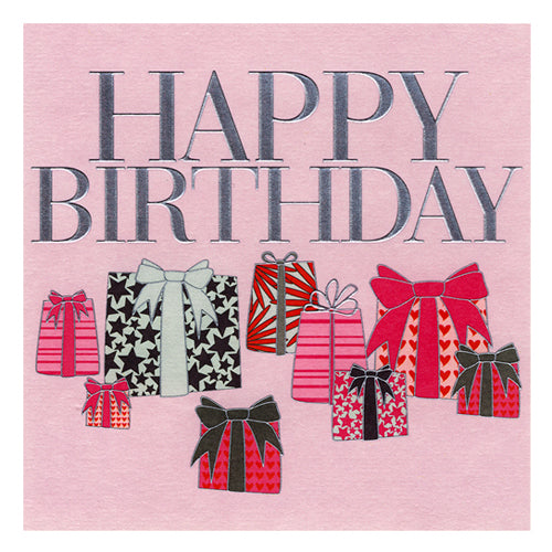 Birthday Card, Pink presents, Happy Birthday, Embossed and Foiled text