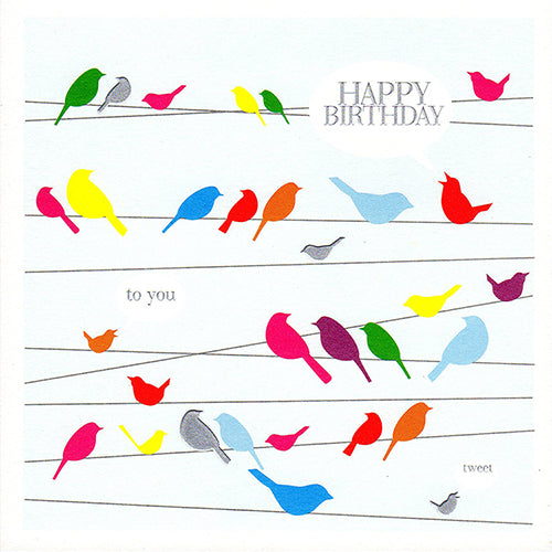 Birthday Card, Birds on wire, Happy Birthday, Embossed and Foiled text