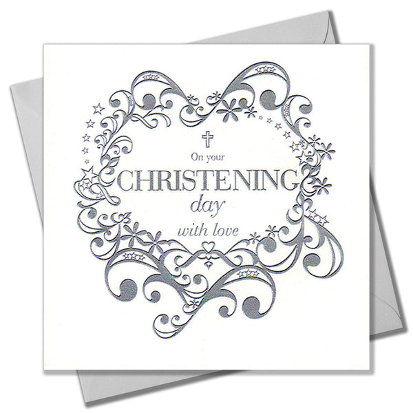 Baby Christening Card, Silver Scrolls, Baptism, Embossed and Foiled text