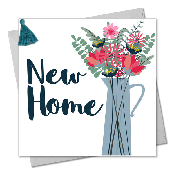 New Home Card, Vase of Flowers, New Home, Embellished with a colourful tassel