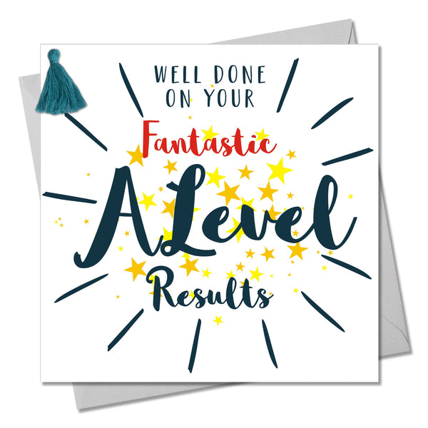 A Level Exam Congratulations Card, Stars, Embellished with a colourful tassel
