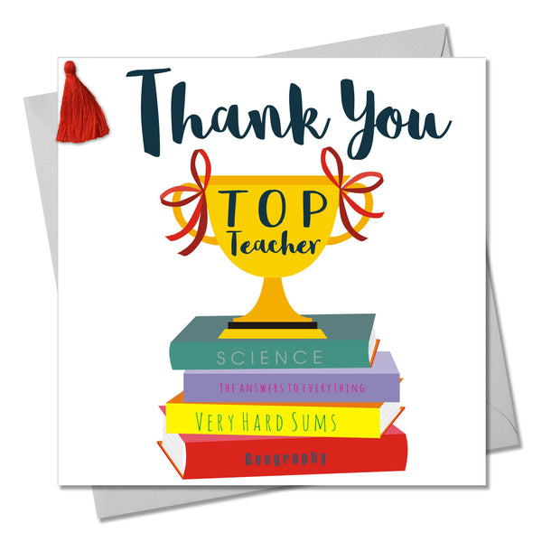 Thank You Teacher Card, Trophy, Embellished with a colourful tassel
