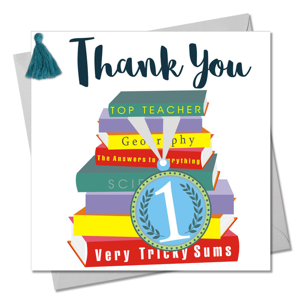 Thank You Teacher Card, Medal & Books, Embellished with a colourful tassel