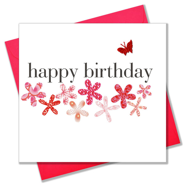 Birthday Card, Flowers, embellished with a pretty fabric butterfly